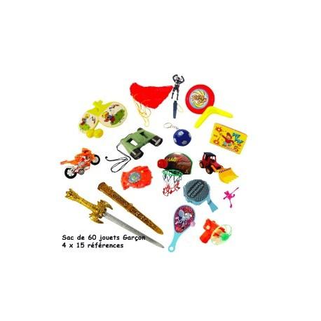 SAC DE 60 JOUETS KERMESSE garcon (15 réfs x 4)