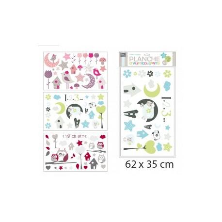 PLANCHE STICKERS DECO CHAMBRE ENFANT 62 x 35 cm