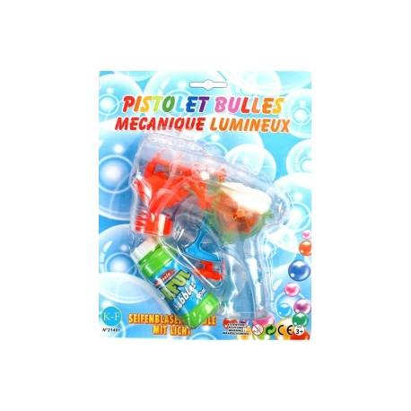 PISTOLET A BULLES MECANIQUE & LUMINEUX 15 cm