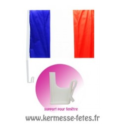 DRAPEAU FRANCE 30 x 45 cm + SUPPORT VOITURE