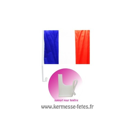 FRANCE : DRAPEAU 30 x 45 cm + SUPPORT VOITURE