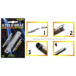 STYLO BILLE ,POINTEUR LASER, LAMPE LED & STYLET TABLETTE 4 en 1