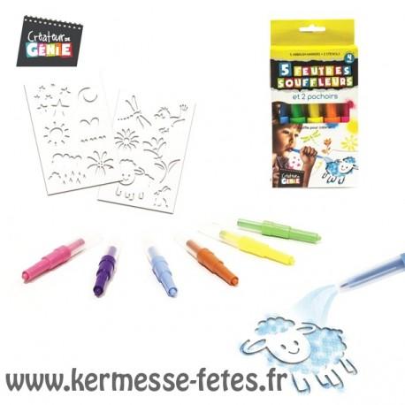 FEUTRES SOUFFLEURS x 5 + POCHOIRS