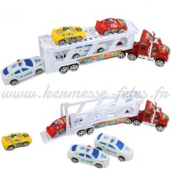 CAMION FRICTION 34cm de TRANSPORT + 4 VOITURES