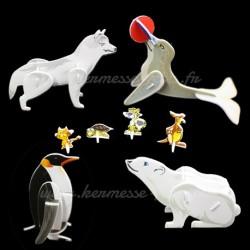 SET 4 ANIMAUX en 3D à MONTER + 4 offerts
