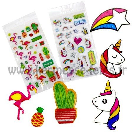 PLANCHE STICKERS MODE LICORNE / FLAMAND ROSE