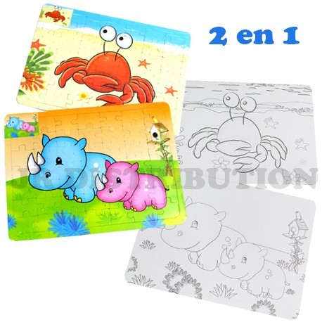 SET 2 EN 1 : PUZZLE + COLORIAGE THEME ANIMAUX