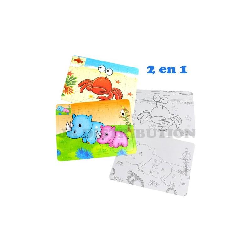 Set 2 En 1 Puzzle 49pcs Coloriage Theme Animaux