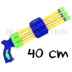 PISTOLET POMPE A EAU 3 CANONS 40 cm