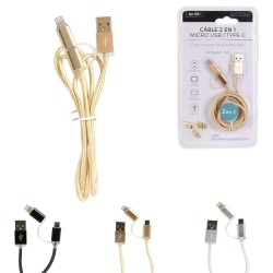 CABLE USB CHARGEUR/SYNCHRO 2 en 1 MICRO USB & TYPE C