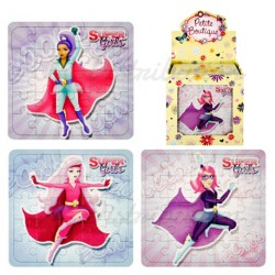 "PUZZLE CARTON LEGER 13x12cm "" SUPER GIRL """
