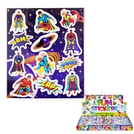 "PLANCHE DE 12 STICKERS 10 x 11.5 cm "" SUPER HERO"""