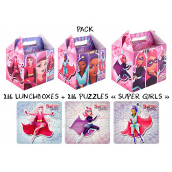 "PACK BOITE MENU ENFANT + PUZZLE ASSORTI "" SUPER GIRLS """