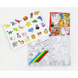 """PROMO : ALBUM COLORIAGE """" ANIMAUX FUN """" + STICKERS + 4 CRAYONS COULEURS"""